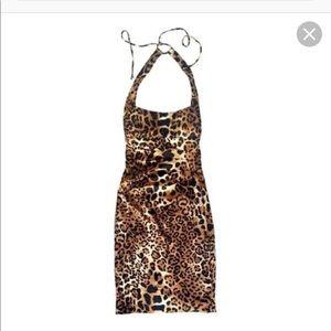 Like new CACHE halter neck satin leopard dress